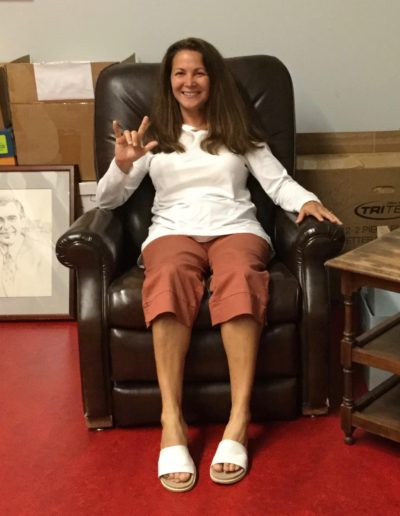 Kim Nussbaum in Fred Rogers' recliner